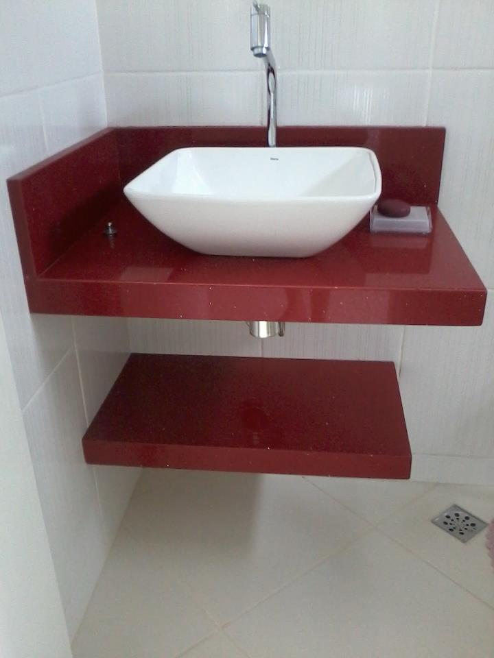 Marmoraria Copacabana lavatório vermelho estrelar, lindo e moderno -> Lavatorio Banheiro Moderno