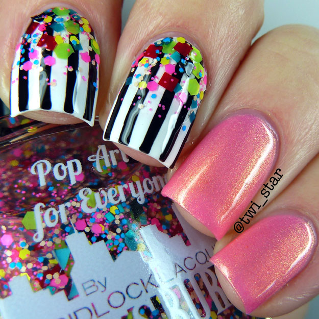 Gridlock Lacquer Pop Art is for Everyone Neon Matte glitter polish swatch