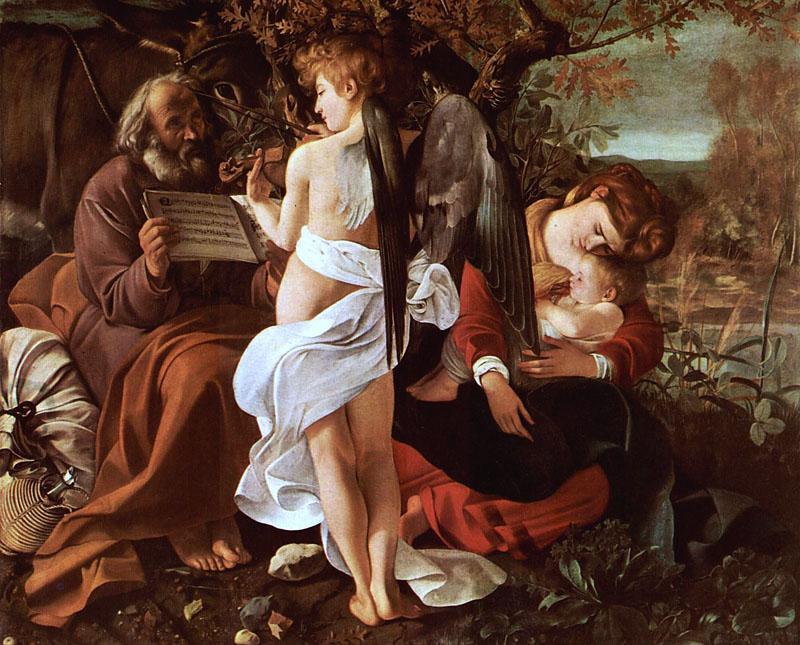 Descanso na fuga para o Egito, pintada por Caravaggio.