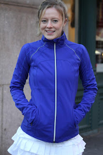 lululemon stay on course running jacket in pigment blue