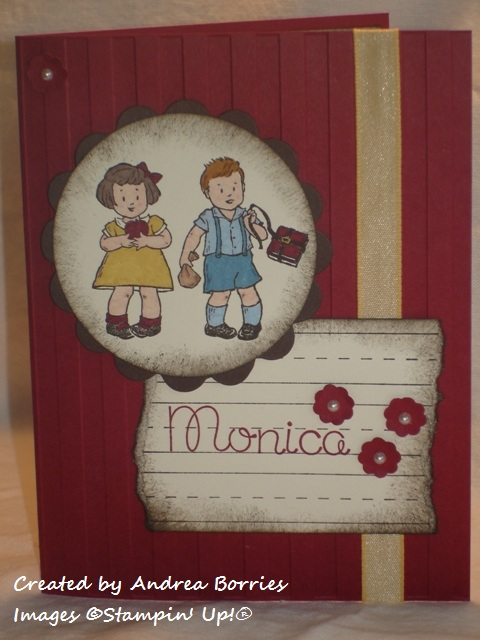 Vintage-looking card with embossed striped background and image of two kids ready for school.