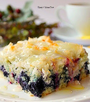 Coconut Blueberry Cake with Lemon Glaze