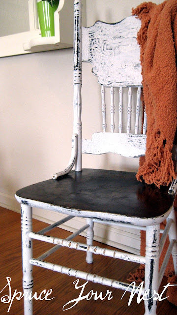 chair makeover, DIY chalk paint, white &amp; stained chair