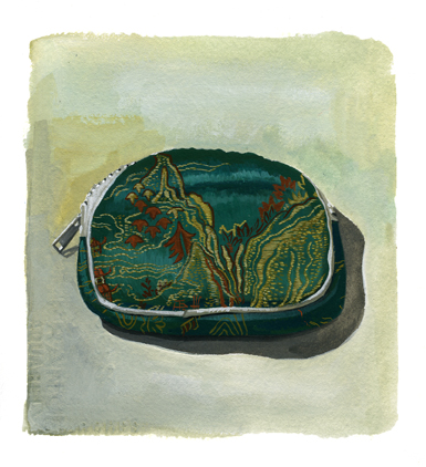 gouache painting of a coin purse, still life, mikayla butchart, watercolor