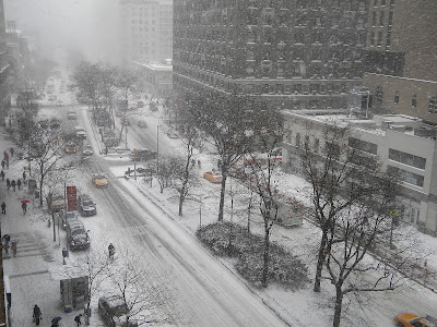New York City Winter Snow Storm Janus stock photo image