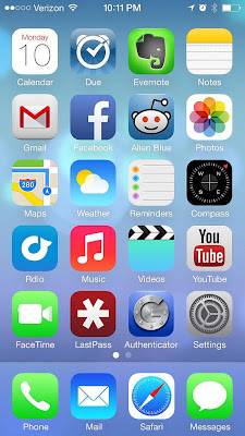 New Apple iOS 7 screen
