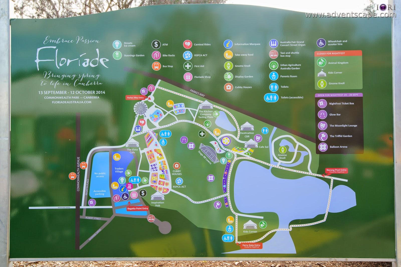 Philip Avellana, iori, advenscape, Floriade, 2014, spring festival, Canberra, ACT, Australian Capital Territory, park, flowers, blossom, map