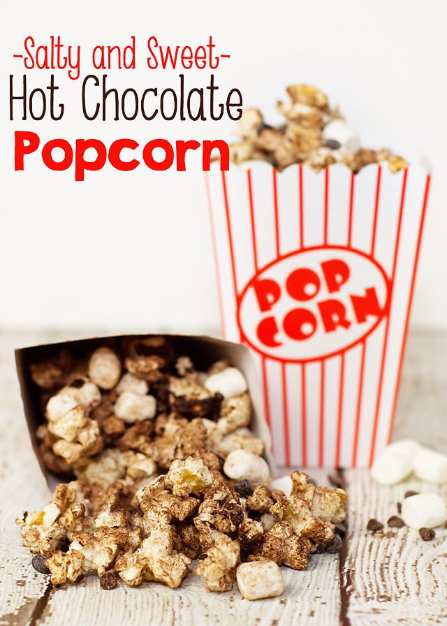 Craving something Salty and Sweet?  This Hot Chocolate Popcorn recipe makes a perfect yummy treat in less than 5 minutes!