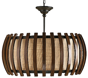 wood slatted oval pendant
