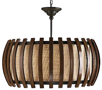 wood slatted oval pendant