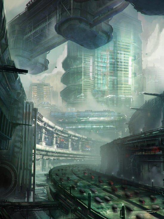 Leon Tukker tryintofly deviantart ilustrações ficção científica espaço cidades futuristas