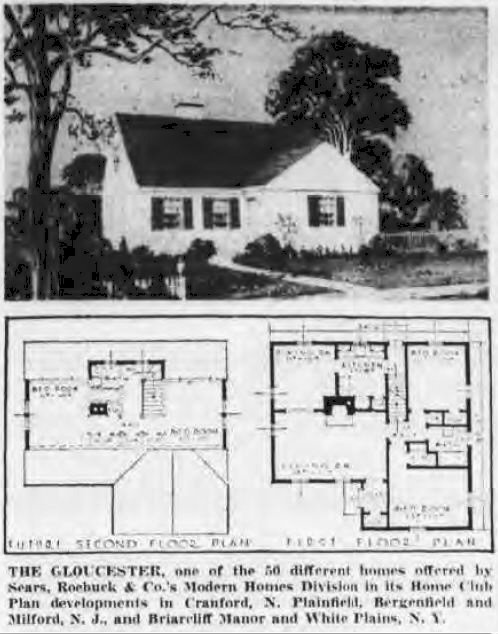 Sears Gloucester illustration and floor plan. Yes  Virginia  Sears Homes Were Built After 1940