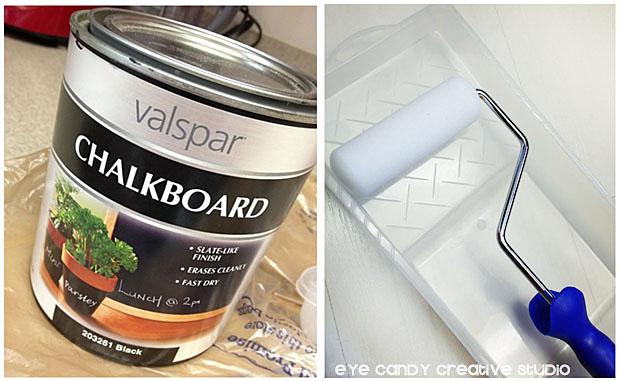 valspar chalkboard paint, paint roller, pantry door makeover, chalk