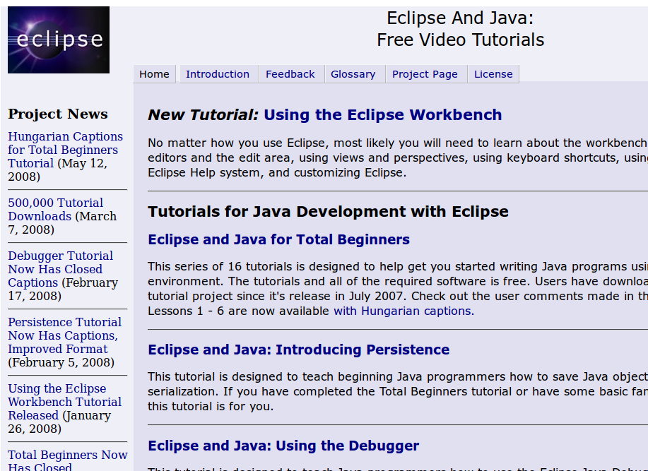 Kumpulan video tutorial Eclipse dan Java