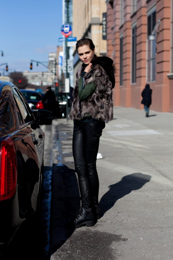 fur vest, models, fashion models, new york street style, womens fashion new york, black pants, new york fashion week 2013