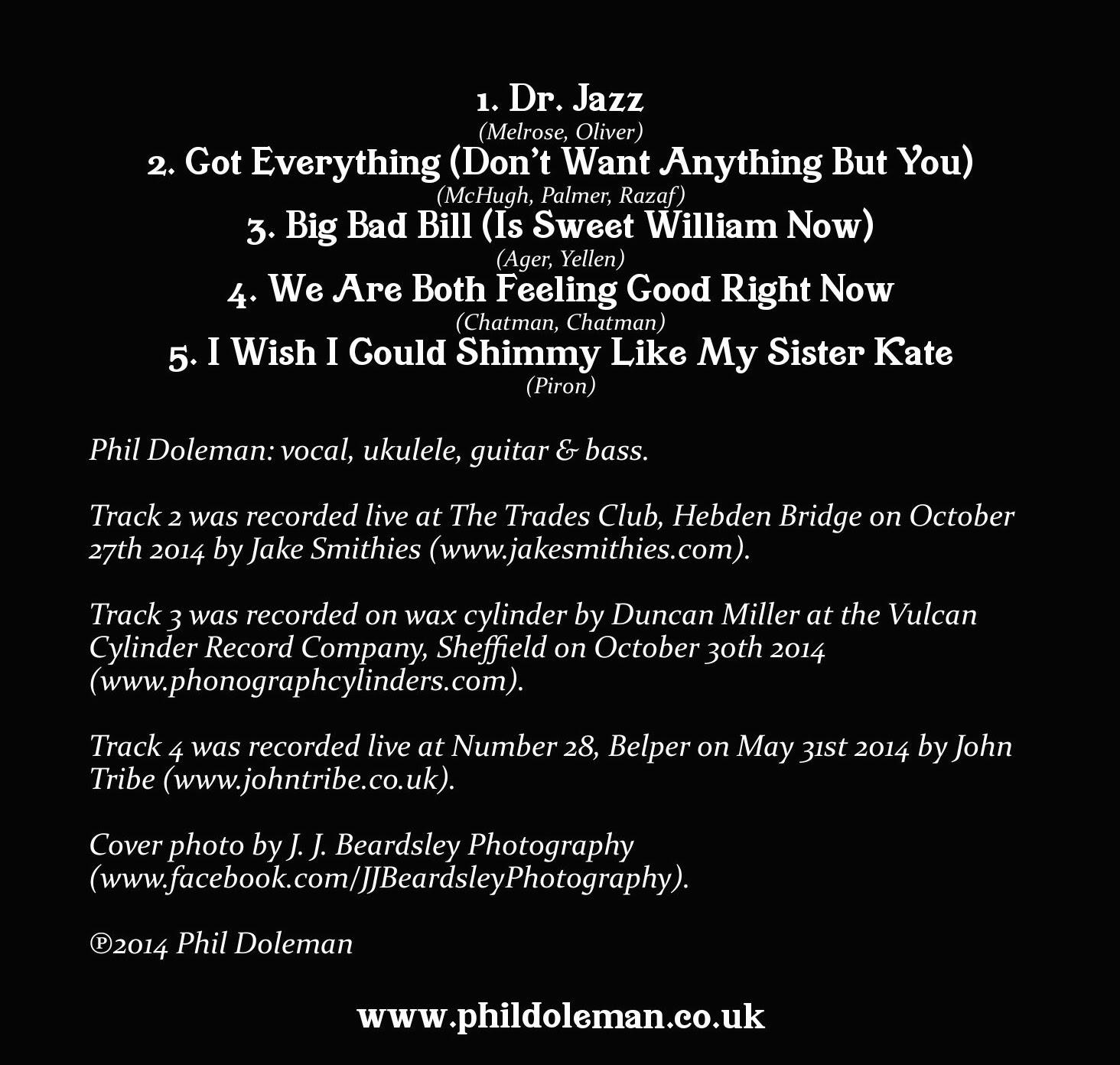 Phil Doleman ukulele EP track listing
