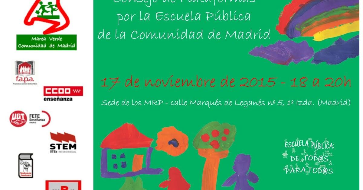 Mareaverde 17 11 2015 consejo de plataformas por la for Sede de la presidencia de la comunidad de madrid