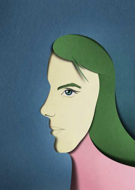 eiko ojala ilustração cortes de papel Retratos e perfil