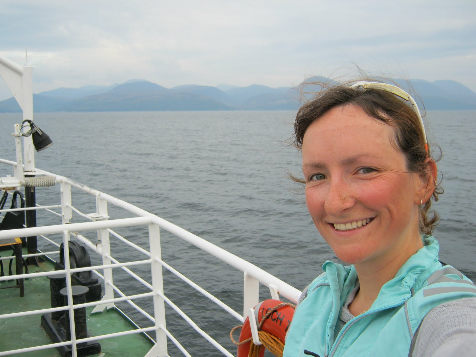 Anna on the boat to Arran