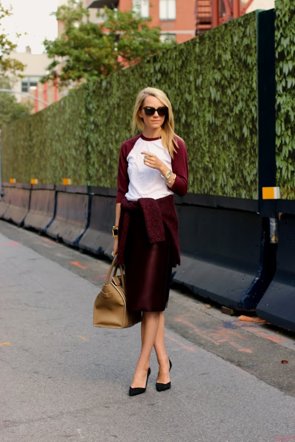atlantic pacific burgundy tibi skirt baseball tee celine fall