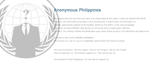 Anonymous Philippines protests against pork barrel
