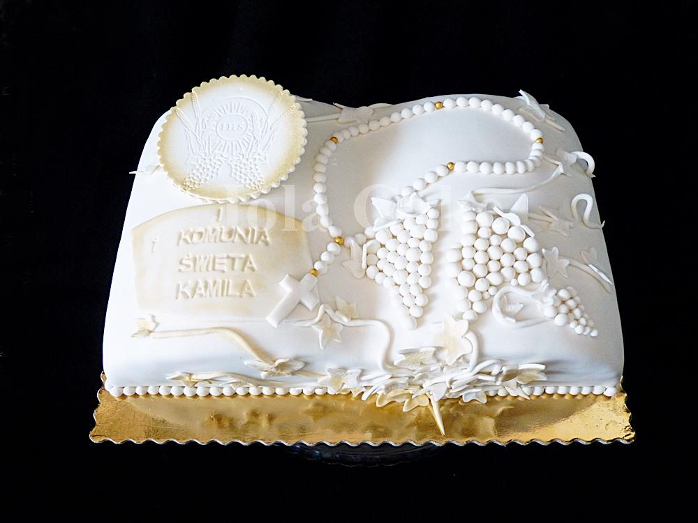 Tort z białym winogronem na Komunię