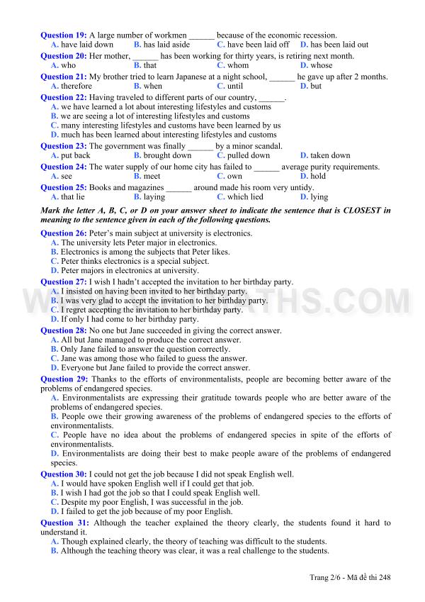 Đề thi khối A1 năm 2013 môn Tiếng Anh