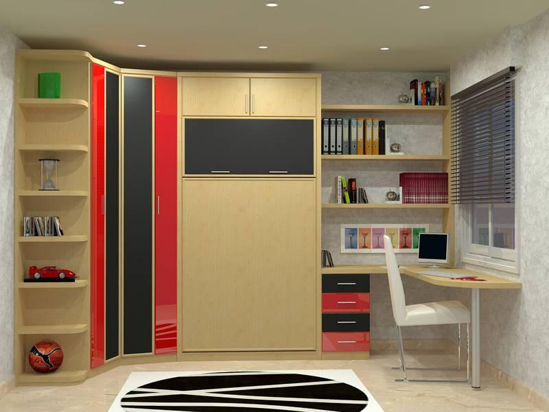 Dormitorios con cama abatible vertical for Camas gemelas juveniles