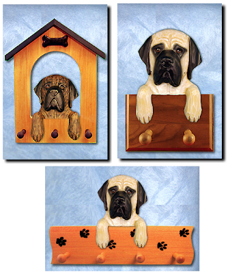 two leash holders and one pegboard with English mastiffs