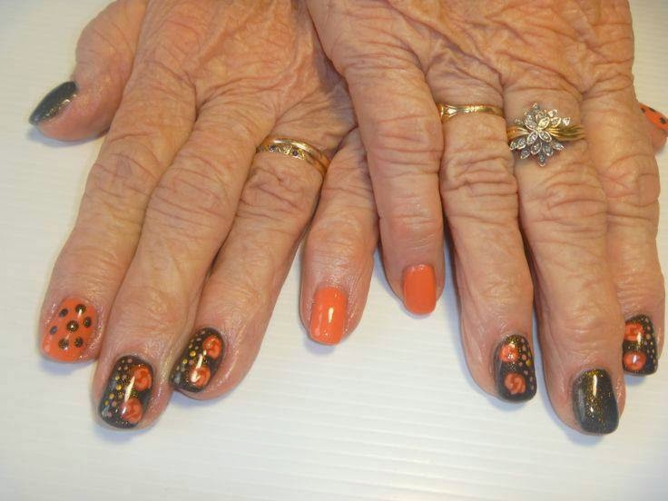 Acrylic overlay and LED polish manicure with nail art