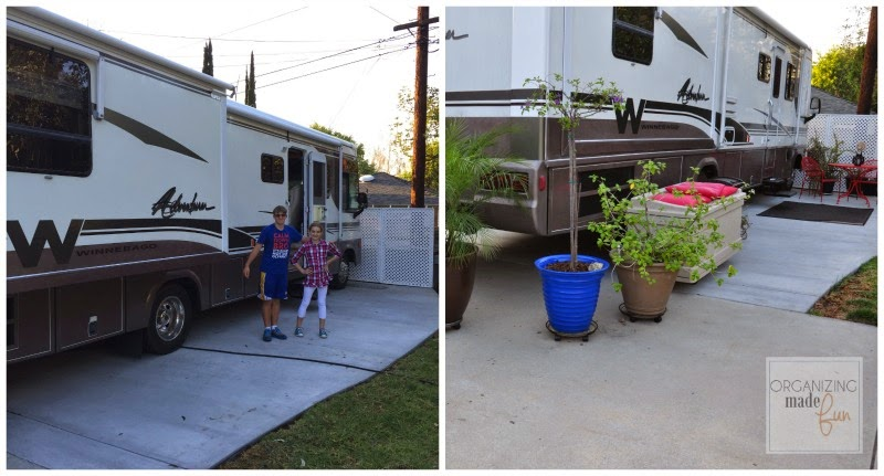 Before and after of RV with plants and decorations around it :: OrganizingMadeFun.com