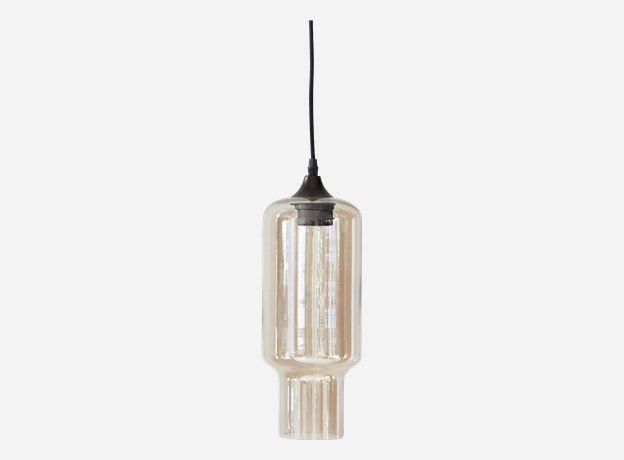 glaslampe med smokey og spejl effekt