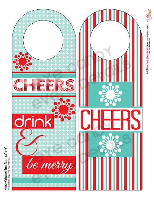 designs for free holiday wine bottle hang tags, cheers, drink & be merry