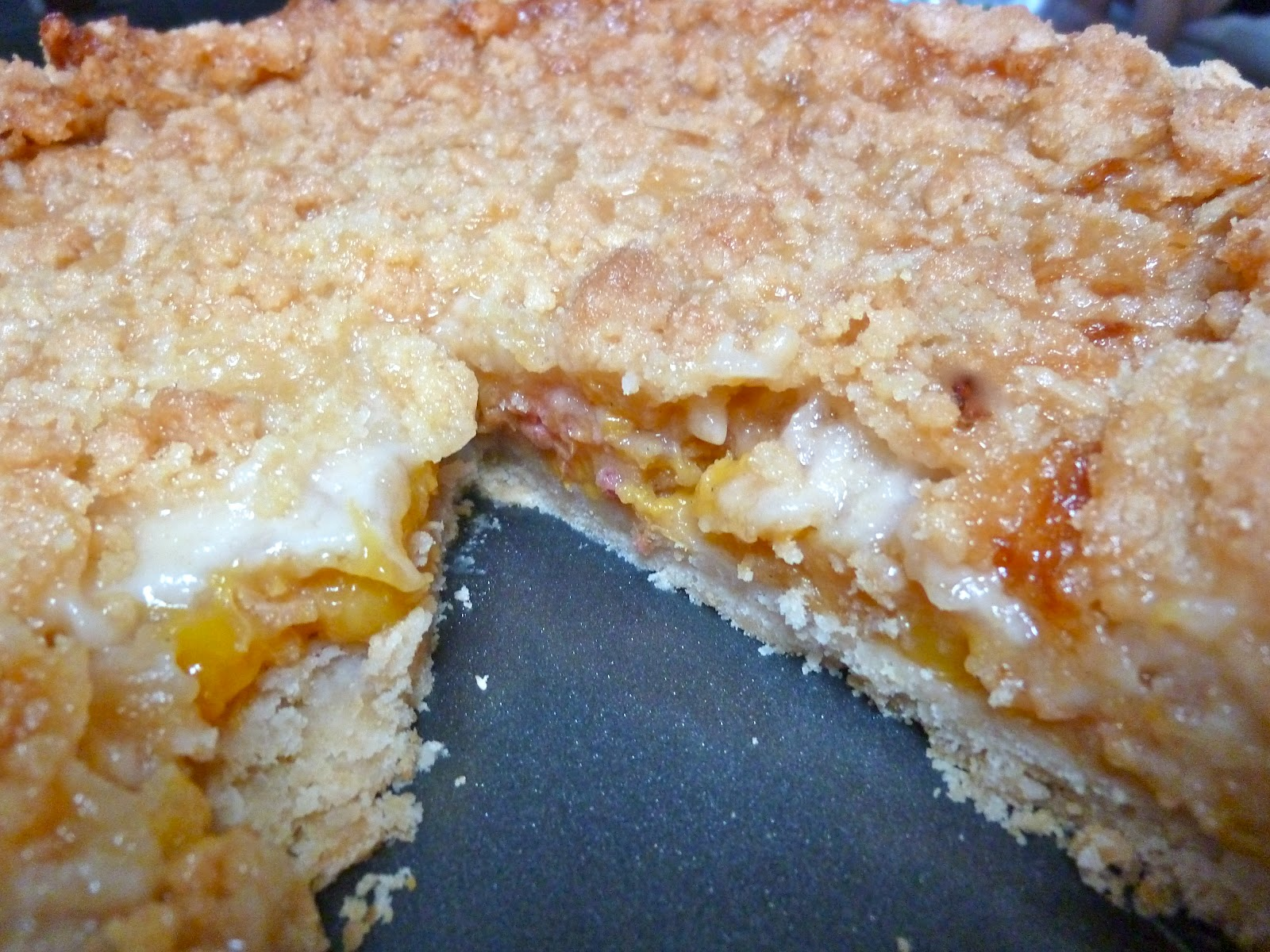 Diary of a Mad Hausfrau: Salted Caramel Peach Crumble Pie