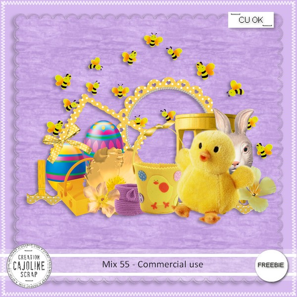 Free scrapbook freebie #55 for easter from Cajoline Scrap
