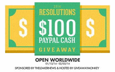 Enter the $100 Paypal Cash - 2014 Resolution Giveaway. Ends 2/3.