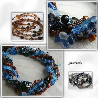 Naszyjnik niebieski - brązowy - czarny, szkło, kamienie, porcelana