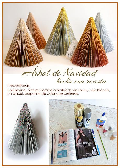Árbol de Navidad hecho con revista reciclada.