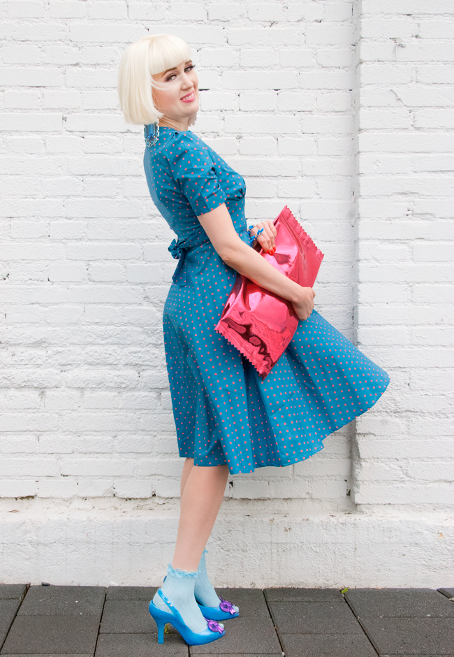 lindy bop dress, pink candy clutch, vivienne westwood melissa