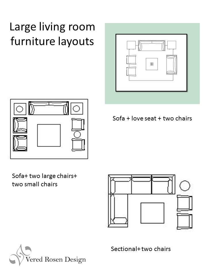 Vered rosen design living room seating arrangements for Furniture layout