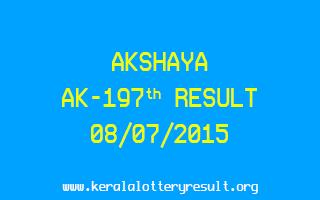 Akshaya AK 197 Lottery Result 8-7-2015
