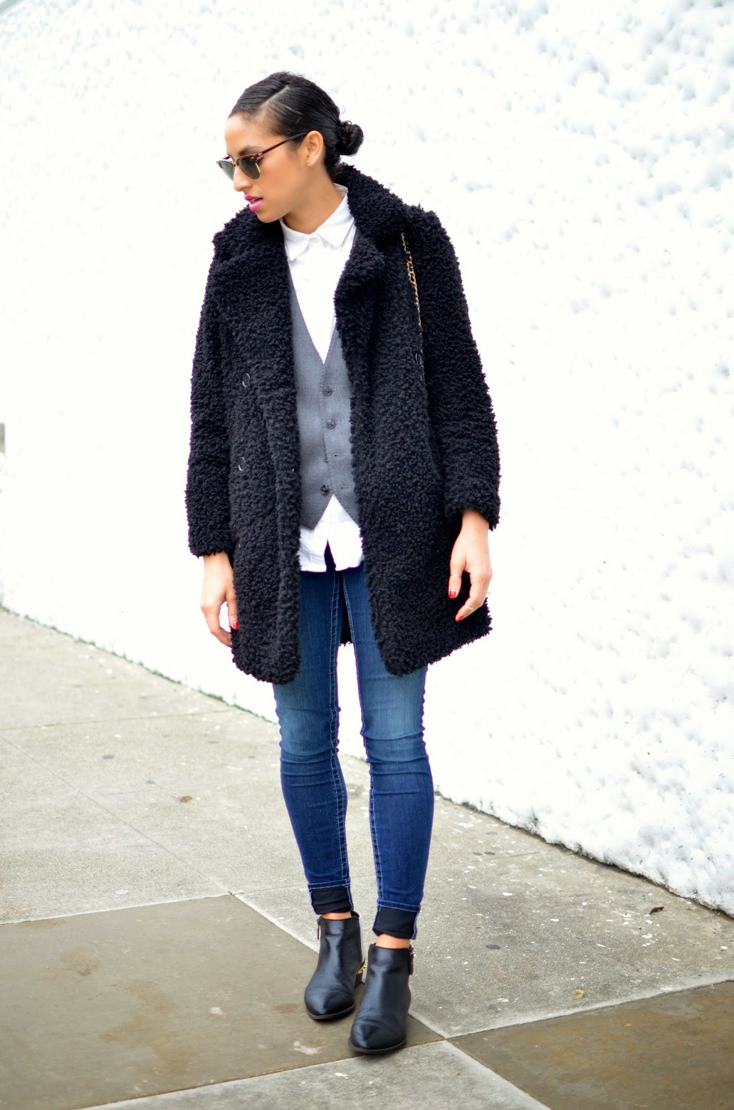 OOTD, denim, True Religion denim, Missguided, black furry coat, menswear trend, Chanel lipgloss, San Francisco style