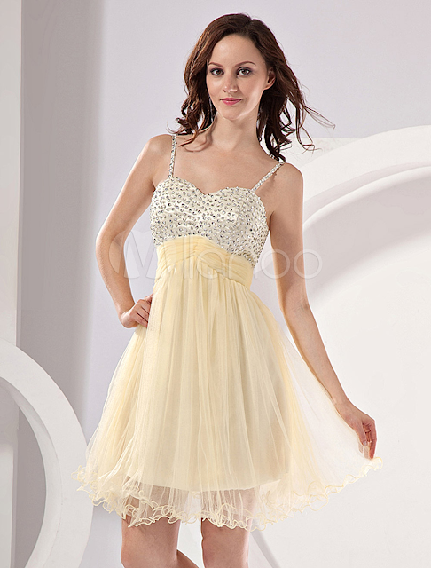 China Wholesale Homecoming Dresses - Modern Light Yellow Net A-line Womens Homecoming Dress