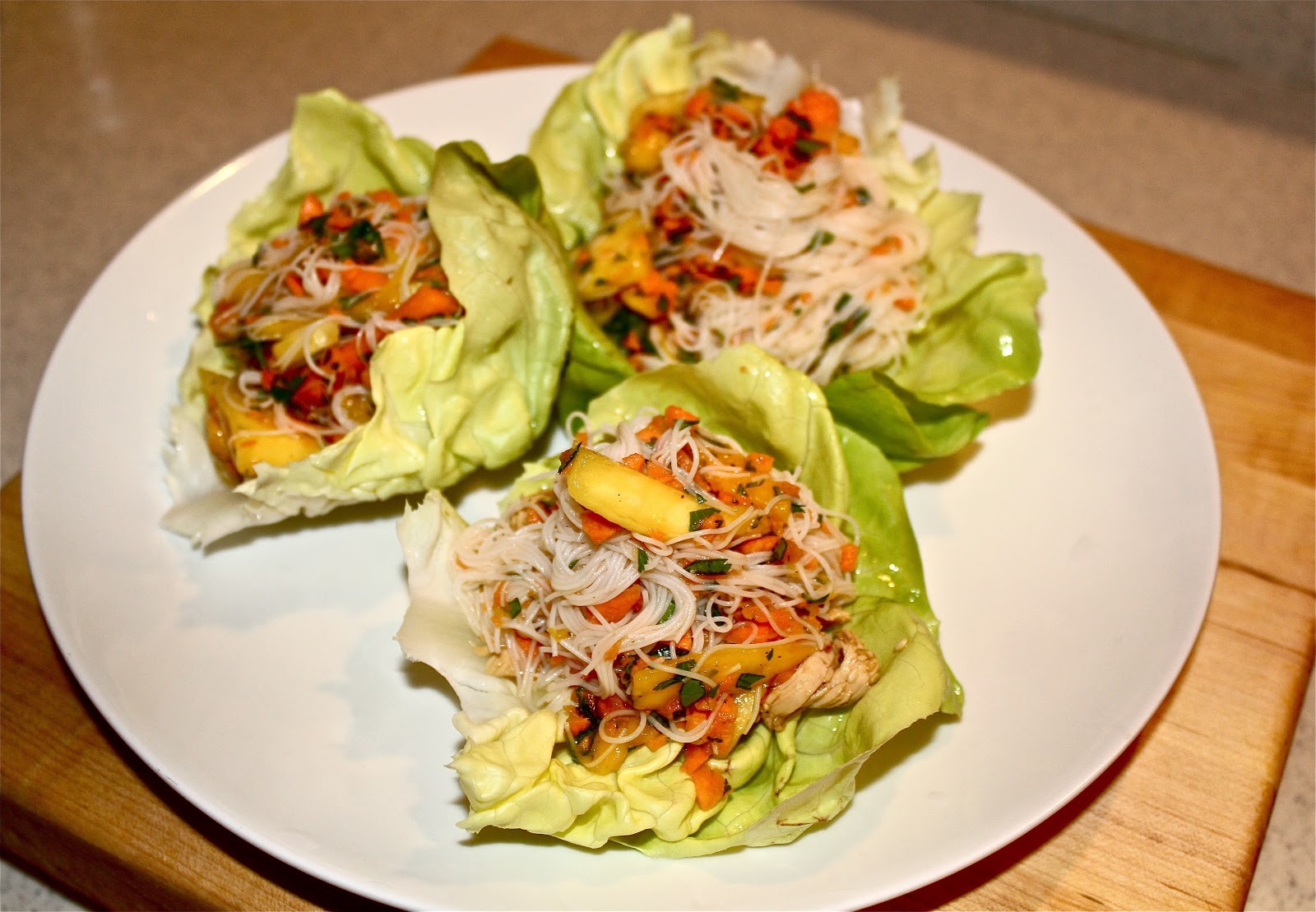 Mango Chicken Lettuce Wraps with Glass Noodles | TO CATCH A COOK
