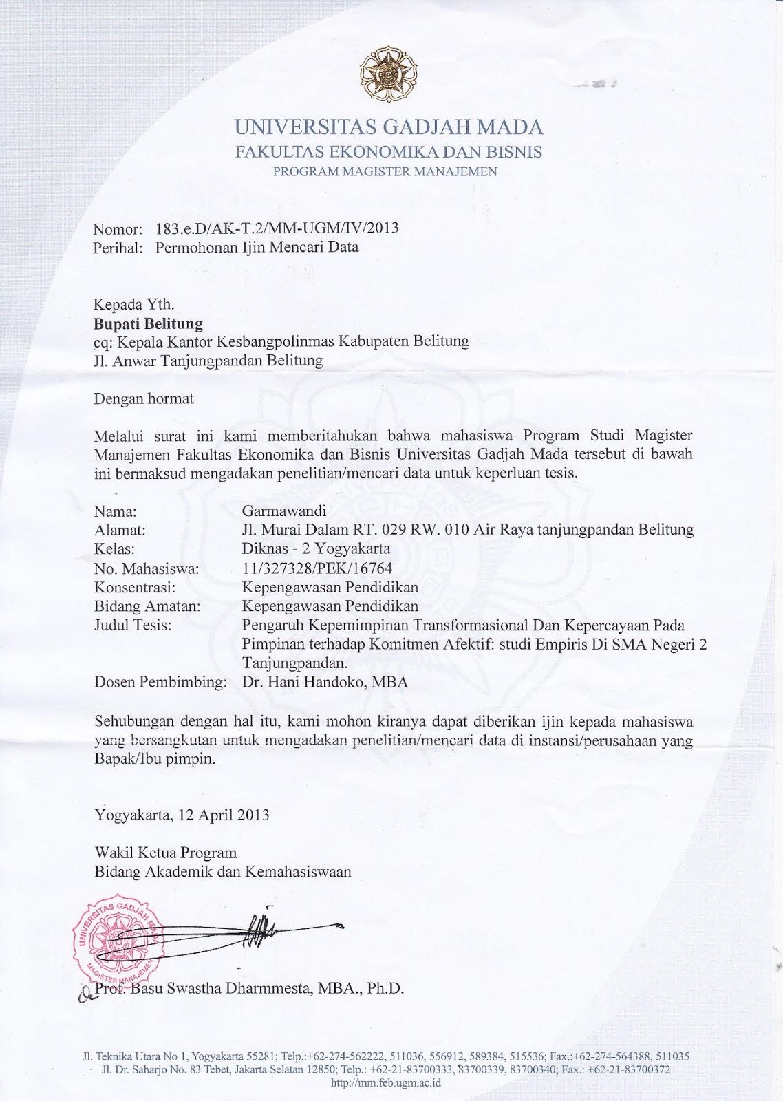 Contoh Surat Balasan Permohonan Izin Penelitian Surat W