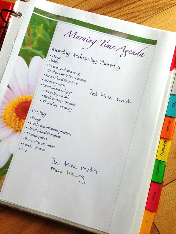 Morning Time binder Pam Barnhill Homeschool Solutions