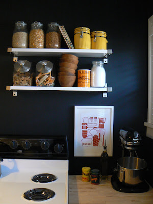 mylittlehousedesign.com kitchen painted black walls with open shelving