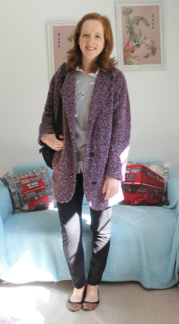 OOTD Fashion Blogger Sweatshirt Shirt Coatagain ASOS F&F M&S New Look