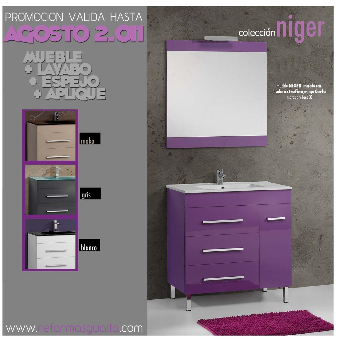 Colecci n niger de muebles de ba o reformas guaita - Armario de bano con espejo y luz ...