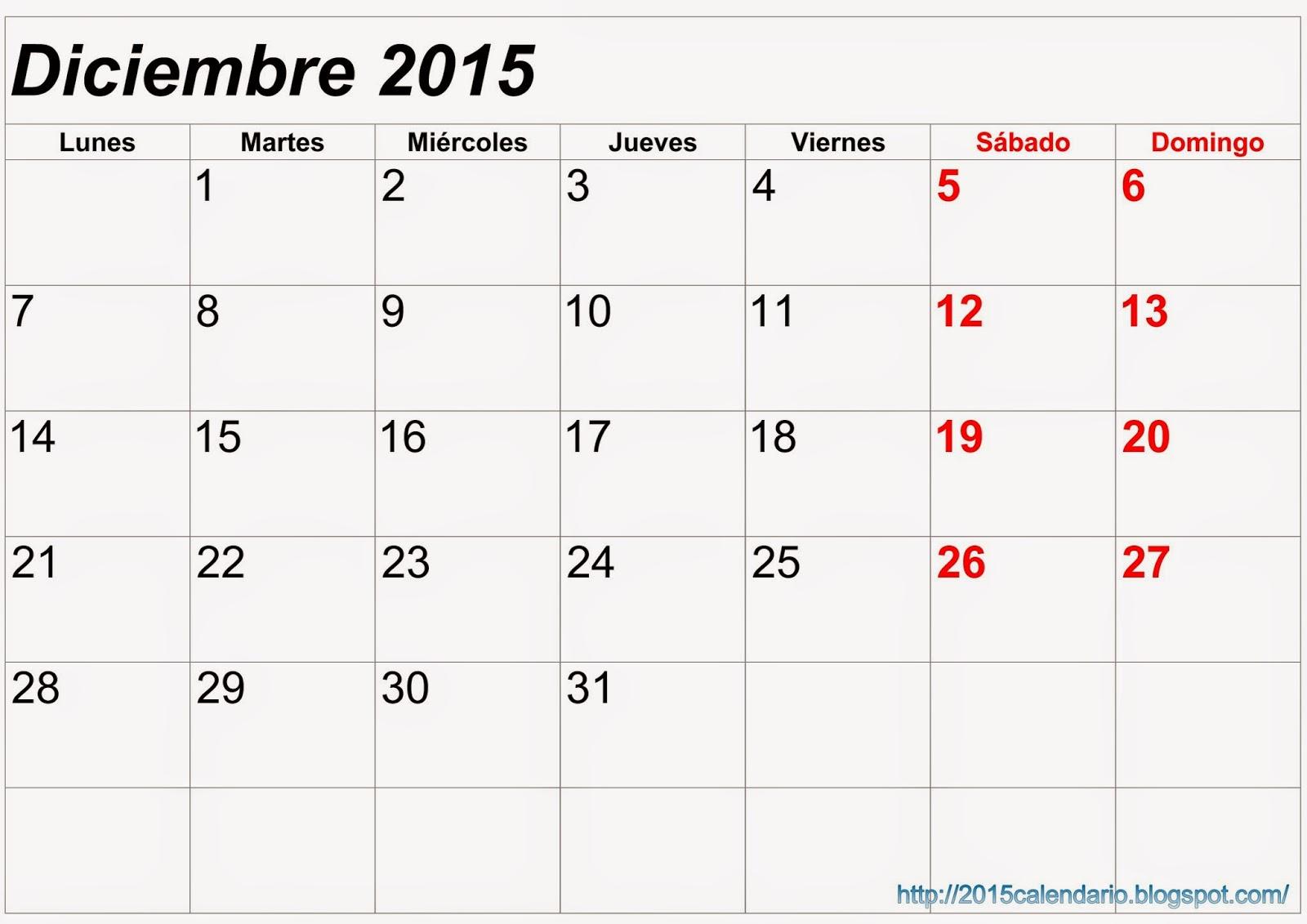 Calendario Diciembre 2015 Para Imprimir, Calendario 2015 para ...